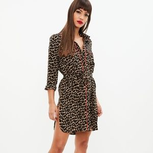 MISSGUIDED Leopard Print Belted Shirt Dress